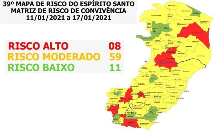 GOVERNO DO ESPÍRITO SANTO DIVULGA O NOVO MAPA DE RISCO COVID-19